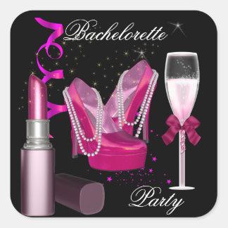 Bachelorette Party Lipstick Pink Shoes Champagne 1 Square Sticker