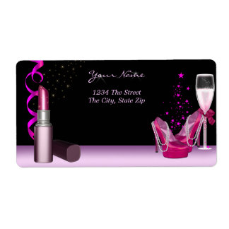 Bachelorette Party Lipstick Pink Shoes Champagne Shipping Label