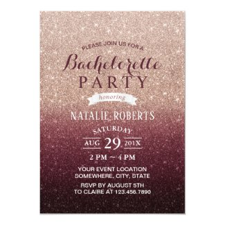Bachelorette Party Modern Burgundy Rose Gold Ombre Invitation
