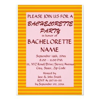 Bachelorette Party-Orange Stripes, Pink Background 6.5x8.75 Paper Invitation Card