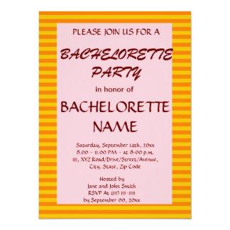 Bachelorette Party-Orange Stripes, Pink Background Custom Invitation