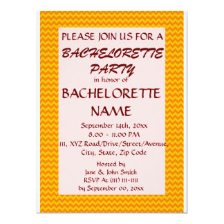Bachelorette Party-Orange Zigzag, Pink Background 6.5x8.75 Paper Invitation Card