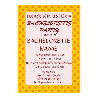 Bachelorette Party-OrangePolkaDots,Pink Background 6.5x8.75 Paper Invitation Card