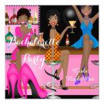 "Bachelorette Party Pink Blue Shoe High Heels Shoe 5.25"" Square Invitation Card"
