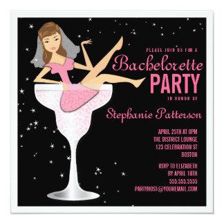 """Bachelorette Party Pink Cocktail Bride Invitation 5.25"""" Square Invitation Card"""