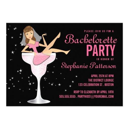 Bachelorette Party Pink Cocktail Bride Invitation