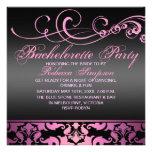 Bachelorette Party Pink Damask Invitation