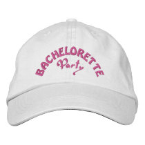 Bachelorette party pink embroidered baseball hat