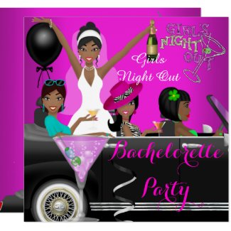 Bachelorette Party Pink Fun Limo Car Cocktails Invitation