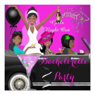 Bachelorette Party Pink Fun Limo Car Cocktails 5.25x5.25 Square Paper Invitation Card
