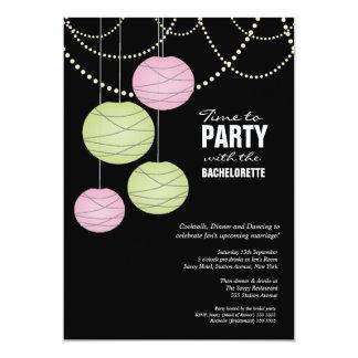 Bachelorette Party Pink Green Paper Lanterns 5x7 Paper Invitation Card