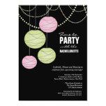 Bachelorette Party Pink Green Paper Lanterns Card