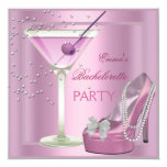 """Bachelorette Party Pink High Heel Shoes 5.25"""" Square Invitation Card"""
