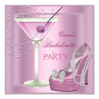 Bachelorette Party Pink High Heel Shoes Invitation