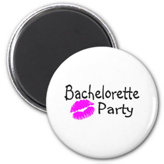 Bachelorette Party Pink Lips 2 Inch Round Magnet