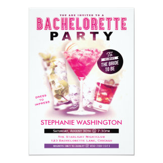 Bachelorette Party Pink Martini and Cocktails 5x7 Paper Invitation Card