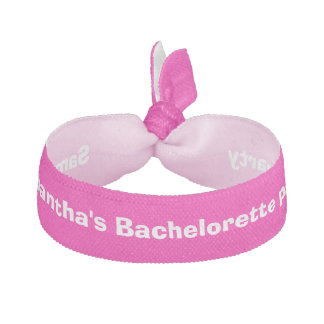 Bachelorette party pink personalized elastic hair tie