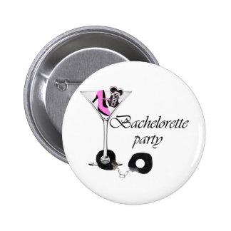 Bachelorette party pink pinback button