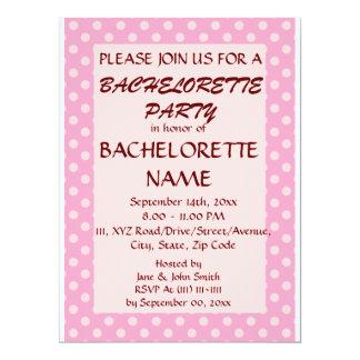 Bachelorette Party-Pink Polka Dots, PinkBackground 6.5x8.75 Paper Invitation Card