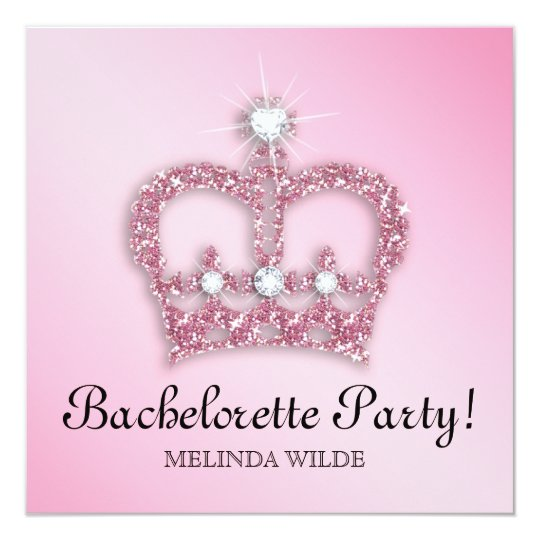 Bachelorette Party Pink Princess Crown Tiara Card