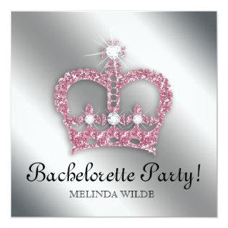 Bachelorette Party Pink Princess Crown Tiara Silve Invitation