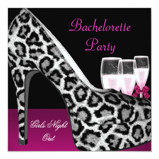 Bachelorette Party Pink Shoes Hi Heels Champagne Invitations