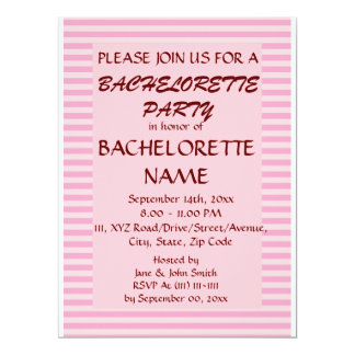Bachelorette Party - Pink Stripes, Pink Background 6.5x8.75 Paper Invitation Card