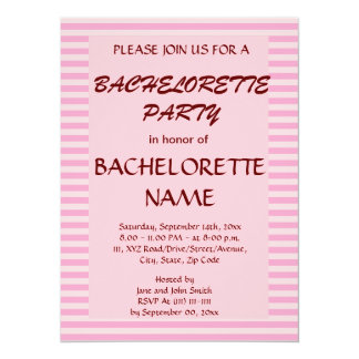 Bachelorette Party - Pink Stripes, Pink Background Personalized Invitation