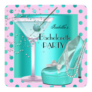 Bachelorette Party Pink Teal Blue Turquoise Card