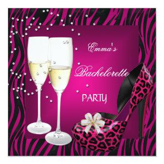 Bachelorette Party Pink Zebra Black Shoes Card
