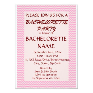 Bachelorette Party - Pink Zigzag, Pink Background 6.5x8.75 Paper Invitation Card