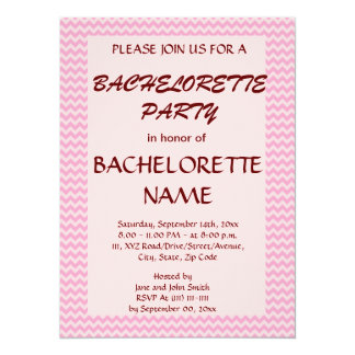 Bachelorette Party - Pink Zigzag, Pink Background Announcement