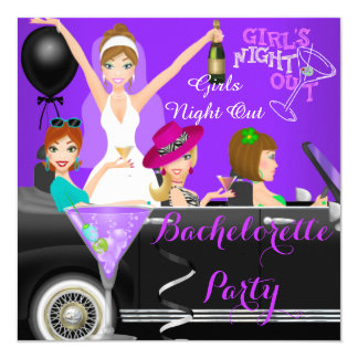 Bachelorette Party Purple Fun Limo Car Cocktails 1 Card
