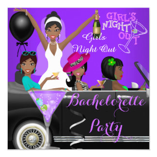 Bachelorette Party Purple Fun Limo Car Cocktails Card