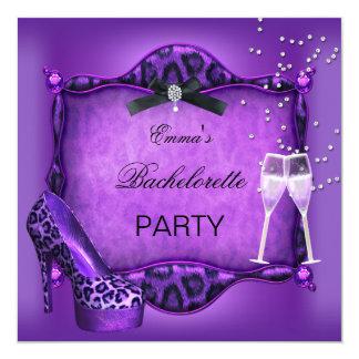 Bachelorette Party Purple Leopard Black Shoes 2 Card