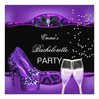 Bachelorette Party Purple Leopard Black Shoes 4 Card