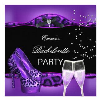 Bachelorette Party Purple Leopard Black Shoes 4 Custom Announcements