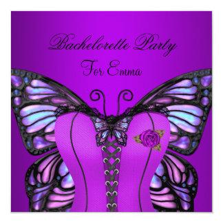 Bachelorette Party Purple Lilac Corset Butterfly 5.25x5.25 Square Paper Invitation Card
