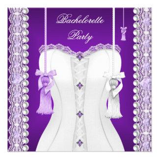 Bachelorette Party Purple Lilac Corset Tassels Custom Invites