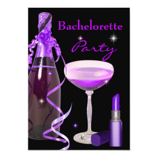 Bachelorette Party Purple Lipstick Champagne Card