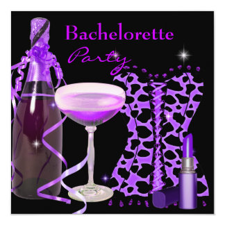 Bachelorette Party Purple Lipstick Leopard Corset Card