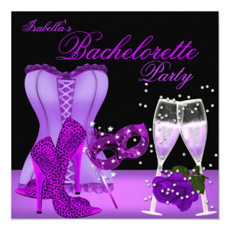 Bachelorette Party Purple Mask Leopard Heel Corset Card