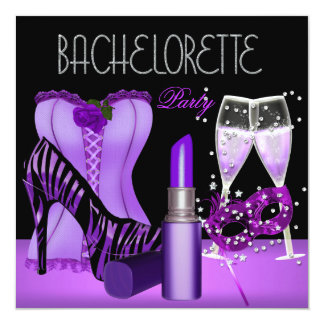 Bachelorette Party Purple Mask Lipstick Corset Card