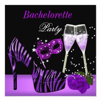 Bachelorette Party Purple Mask Shoes Champagne 2 Invitation