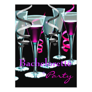 Bachelorette Party Purple Pink Black Drinks 6.5x8.75 Paper Invitation Card