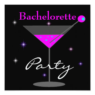 Bachelorette Party Purple Pink Black Martini 2 Card