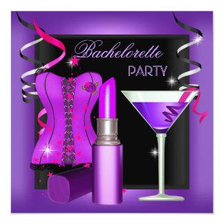 Bachelorette Party Purple Pink Lipstick Corset 2 Custom Invites