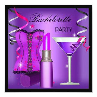 Bachelorette Party Purple Pink Lipstick Corset Personalized Announcement
