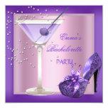 "Bachelorette Party Purple Pink Shoes 2 5.25"" Square Invitation Card"