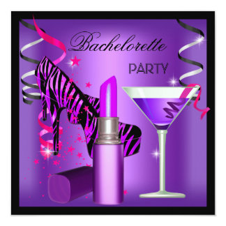 Bachelorette Party Purple Pink Zebra Lipstick Card